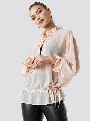 NA-KD Boho Tie Detail Blouse rosa