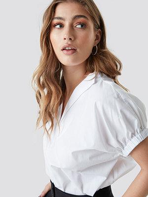NA-KD Trend Oversized Puff Short Sleeve Shirt vit
