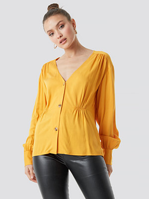 NA-KD Trend V-Cut Button Up Blouse - Blusar