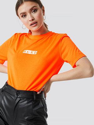 NA-KD Neon Logo Tee orange