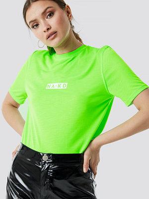 NA-KD Neon Logo Tee grön