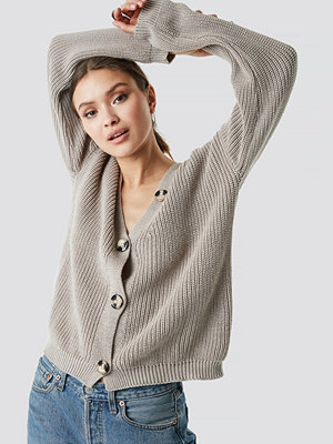 NA-KD Big Button Knitted Cardigan beige