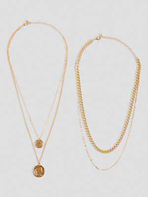 NA-KD Accessories smycke Layered Coin And Chain Necklaces guld