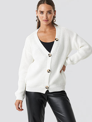 NA-KD Big Button Knitted Cardigan vit