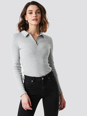 NA-KD Zipped Ribbed Top grå