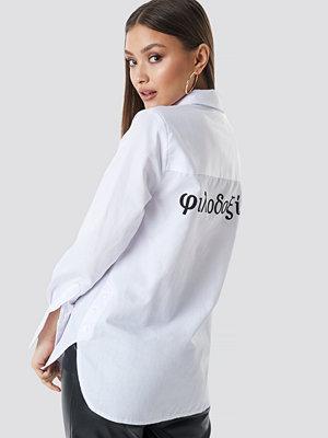 Chloé B x NA-KD Oversized Printed Shirt vit