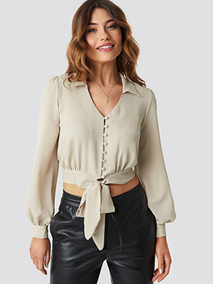 Trendyol Button Detailed Binding Blouse beige