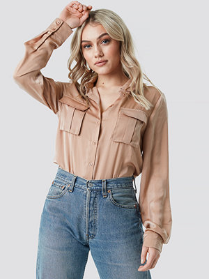 NA-KD Chest Pocket Satin Shirt beige