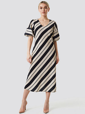 NA-KD Boho Striped Balloon Sleeve Dress beige