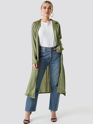 NA-KD Satin Duster Coat grön