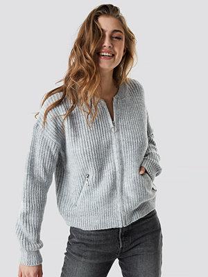 NA-KD Trend Zipper Cardigan grå
