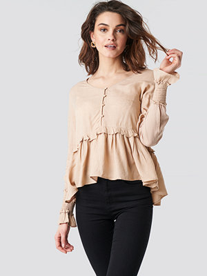 NA-KD Boho Shirred Detailed Sleeve Blouse beige