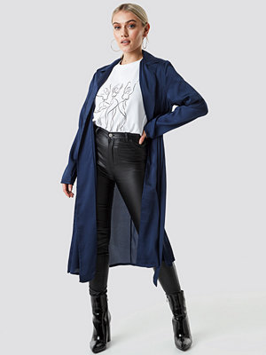 NA-KD Satin Duster Coat blå