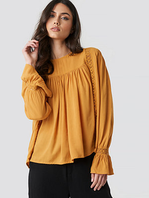 Tunikor - NA-KD Boho Crochet Detail Flowy Cotton Top gul