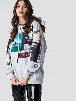 NA-KD Poster Print Oversized Hoodie grå
