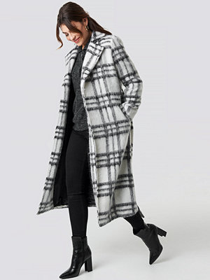 NA-KD Trend White Checked Coat vit