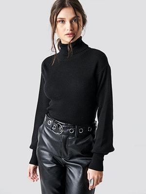 NA-KD Balloon Sleeve High Neck Short Sweater svart