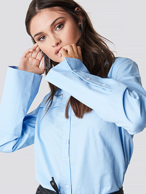 NA-KD Classic Wide Cuff Shirt blå