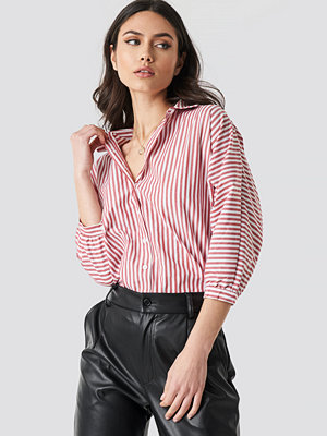 Trendyol Striped Balloon Sleeve Shirt röd