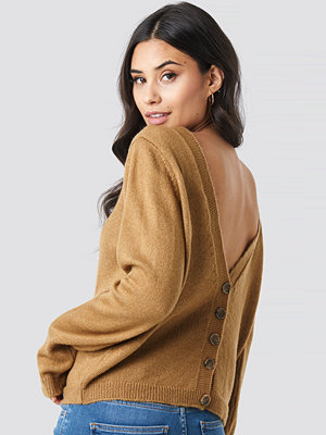 NA-KD Buttoned Knitted Sweater brun