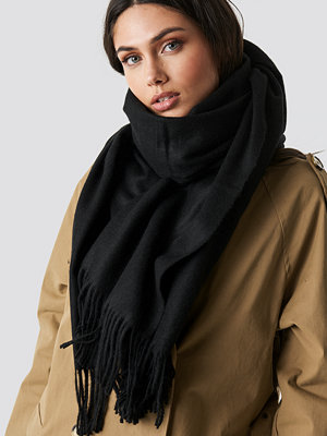 NA-KD Accessories Light Wool Blend Scarf svart