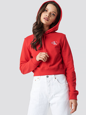 Tröjor - Calvin Klein Monogram Embroidery Hoodie röd