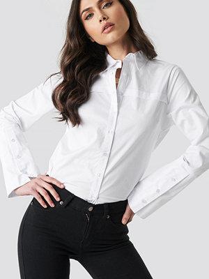 NA-KD Classic Wide Cuff Shirt vit