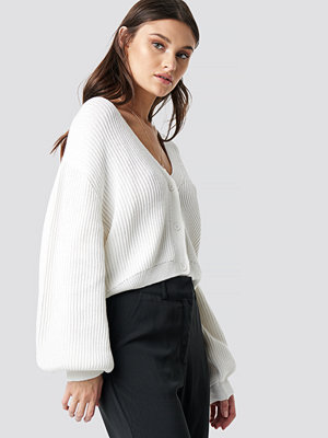 NA-KD Volume Sleeve Cardigan vit