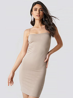 NA-KD Spaghetti Strap Dress beige