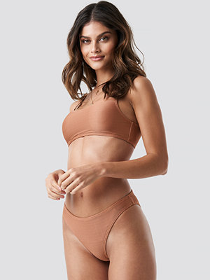 NA-KD Swimwear Ribbed Sporty Bikini Bottom brun