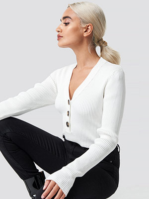NA-KD Trend Button Up Knitted Sweater vit