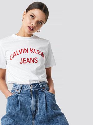 Calvin Klein Curved Logo Straight Tee vit