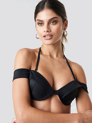 Trendyol Sleeve Detailed Bikini Top svart