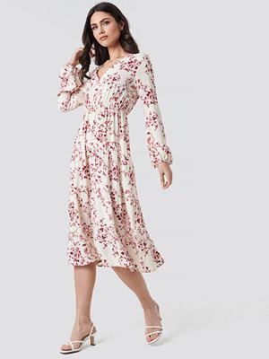 NA-KD Boho Volume Sleeve Tiered Midi Dress multicolor