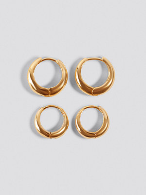 NA-KD Accessories smycke Short Hoop Earrings (2-Pack) guld