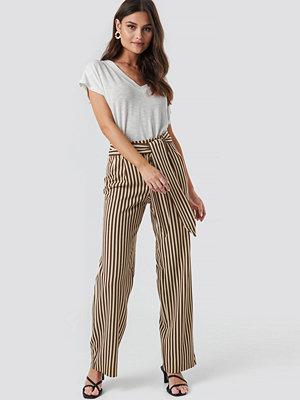 Mango randiga byxor Mosquito Trousers brun beige