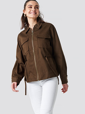 NA-KD Short Oversized Marked Waist Jacket brun
