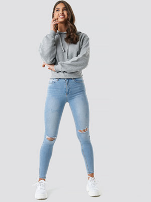 NA-KD Skinny High Waist Destroyed Jeans blå