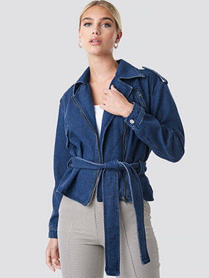 NA-KD Trend Dropped Shoulder Denim Biker Jacket blå