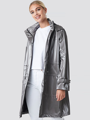 NA-KD Metallic Zip Coat silver