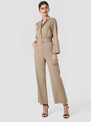Jumpsuits & playsuits - NA-KD Trend Front Pocket Jumpsuit beige