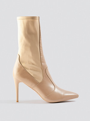 NA-KD Shoes Pointy PU Mix Boots beige