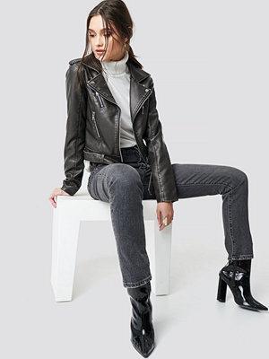 NA-KD Trend Pu Leather Distressed Biker Jacket svart