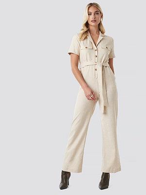 NA-KD Trend Safari Shirt jumpsuit beige