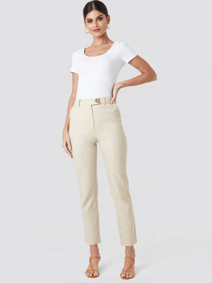 NA-KD Trend omönstrade byxor Linen Look Suit Pants beige