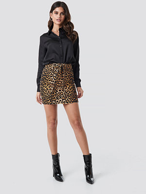 NA-KD Trend Belted Leopard Denim Skirt multicolor