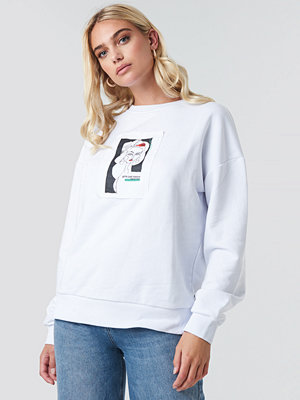 NA-KD Front Print Oversized Sweatshirt vit