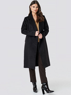NA-KD Trend Lapel Collar Long Coat svart