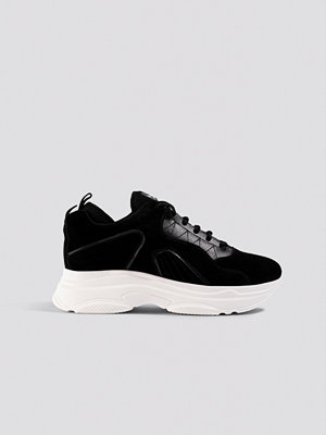 NA-KD Shoes Sporty Faux Suede Sneakers svart
