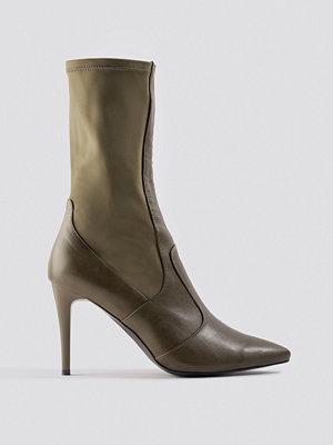NA-KD Shoes Pointy PU Mix Boots grön